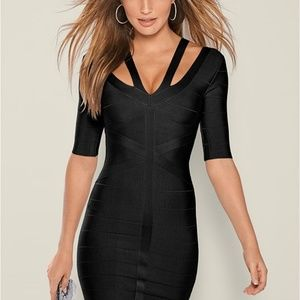 Venus Bandage Black Strap Detail Dress
